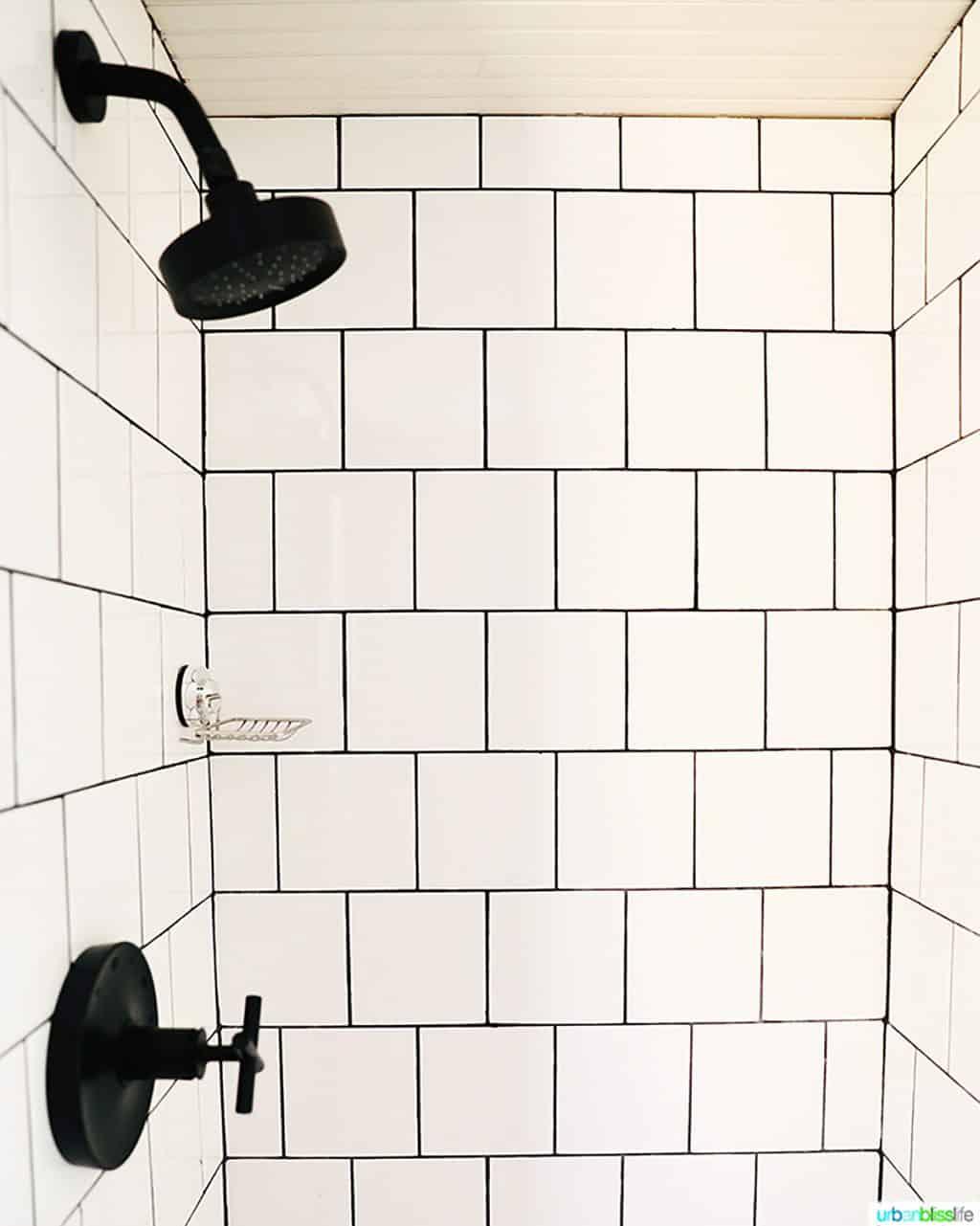 white subway tiled shower