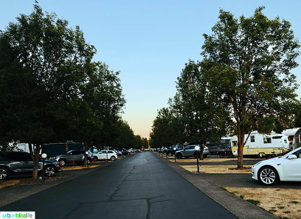 street in the vintages trailer resort at sunset