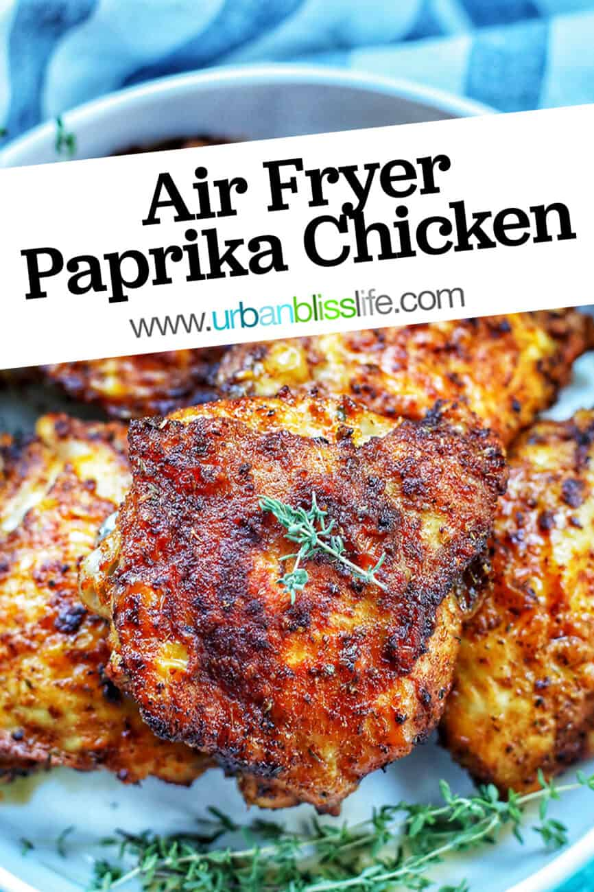 air fryer paprika chicken with title text overlay