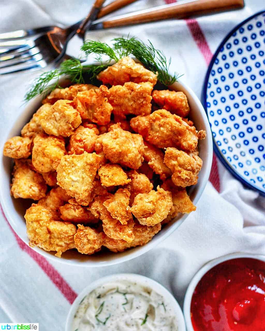 Air Fryer Popcorn Chicken with dipping sauces
