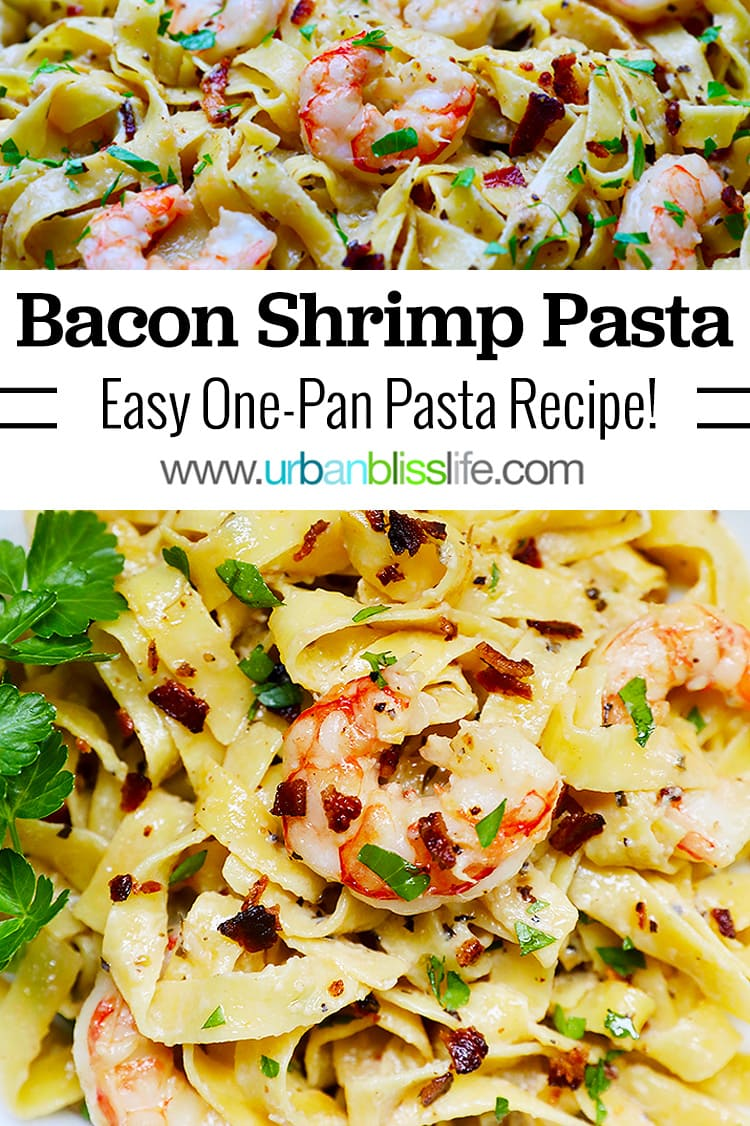 Two photos of shrimp and bacon pasta with title text overlay