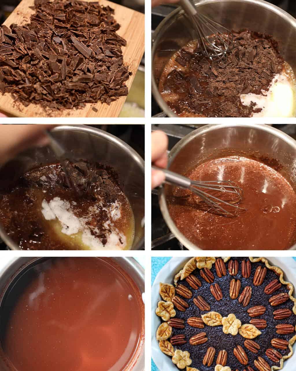 photos of steps making chocolate bourbon pecan pie