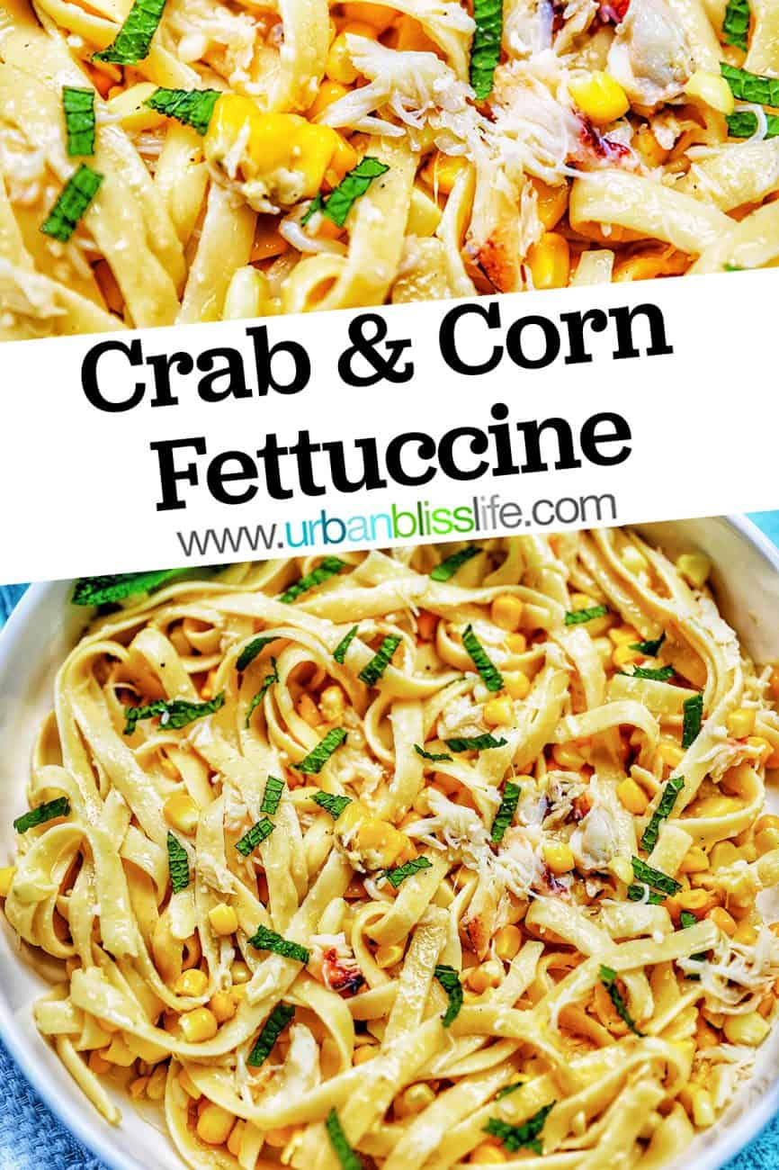 closeup of crab pasta with title text
