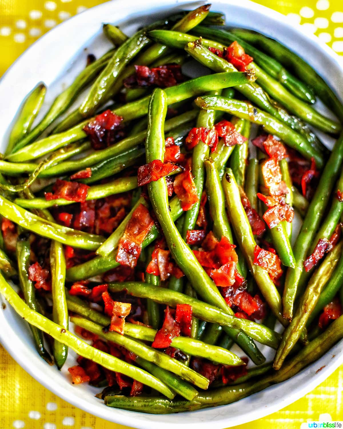big bowl of green beans with bacon and shallots