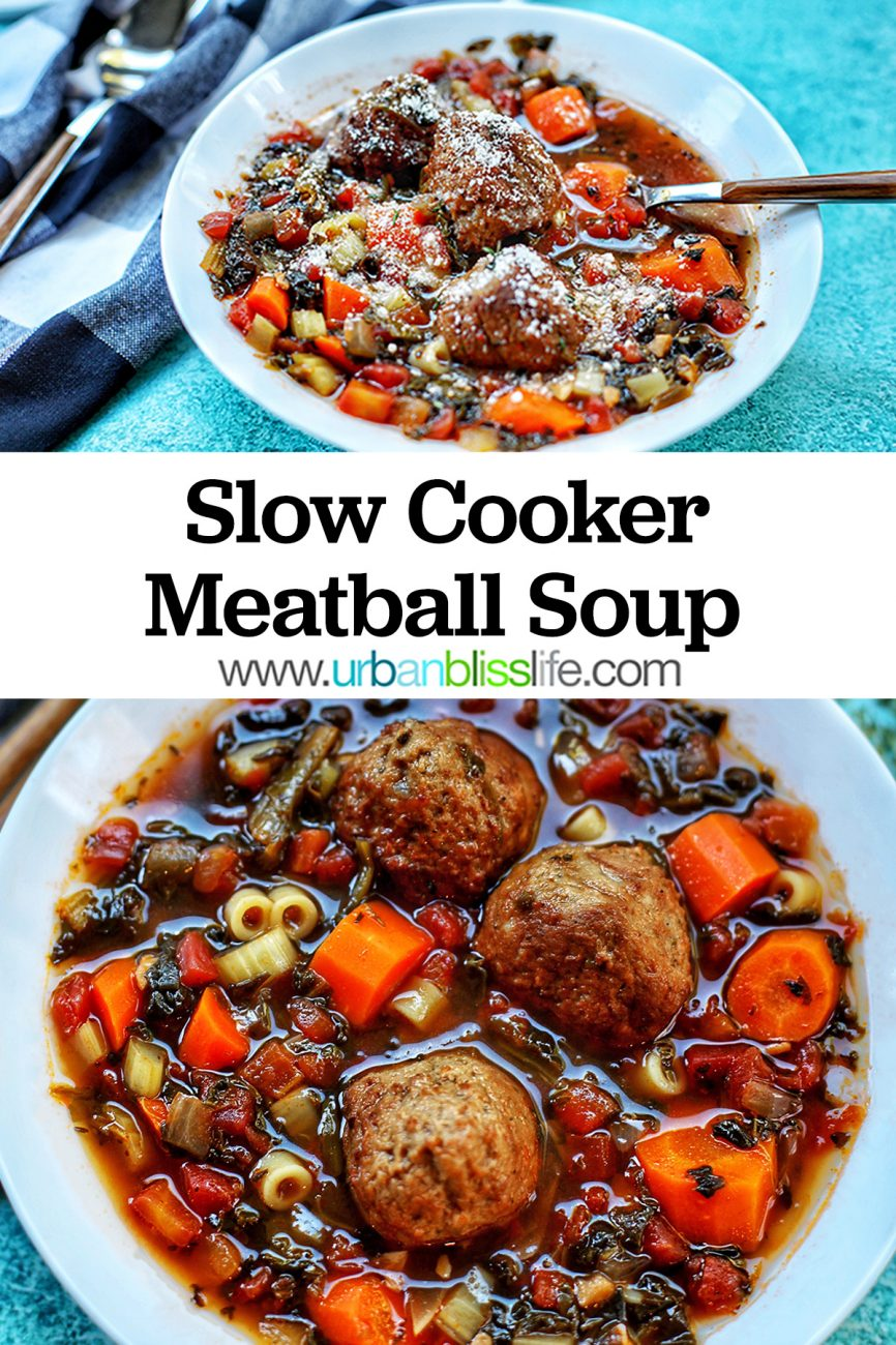 closeup bowl and landscape bowl of Slow Cooker Meatball Soup with title text overlay