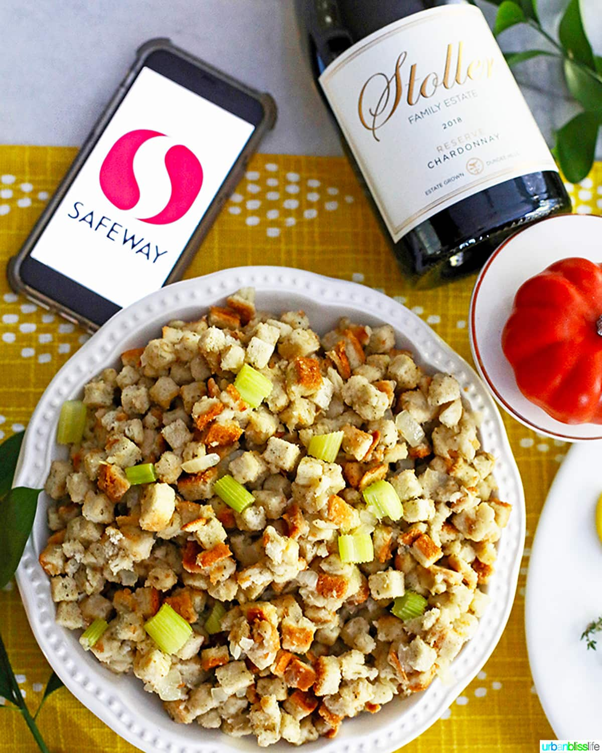 thanksgiving stuffing with stoller wine and safeway logo on phone