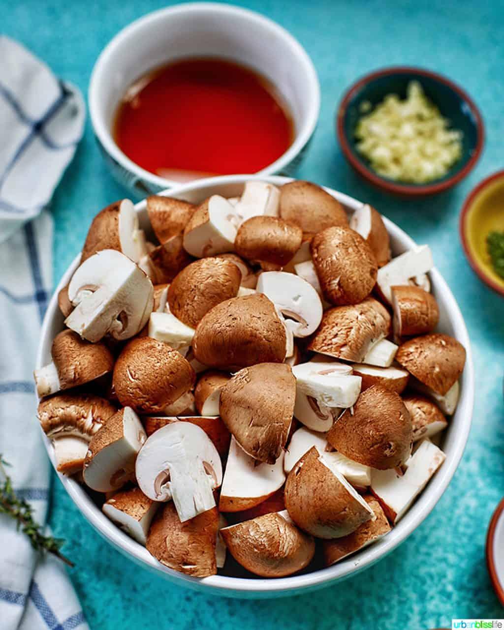 quartered mushrooms