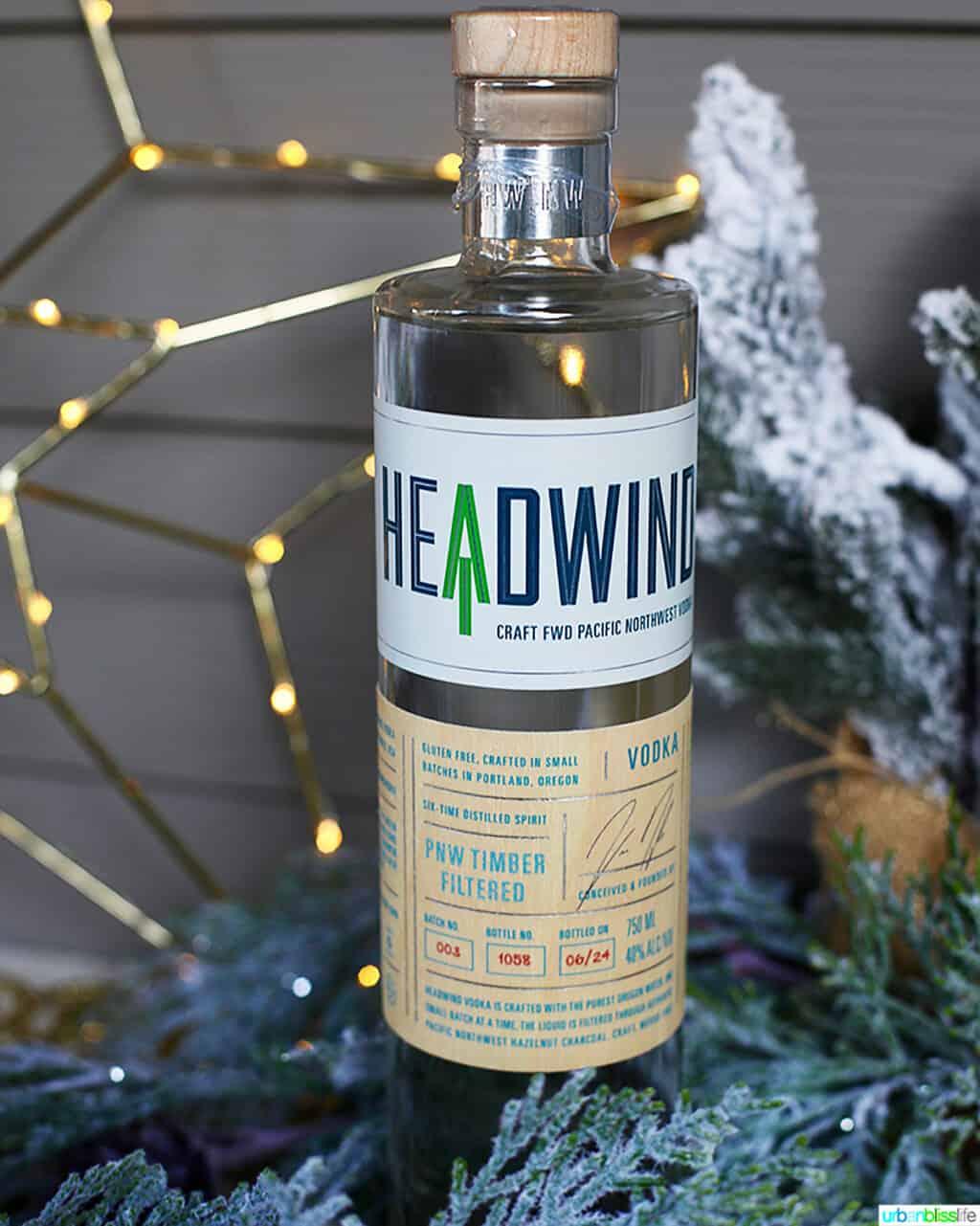 bottle of Headwind Vodka in holiday setting