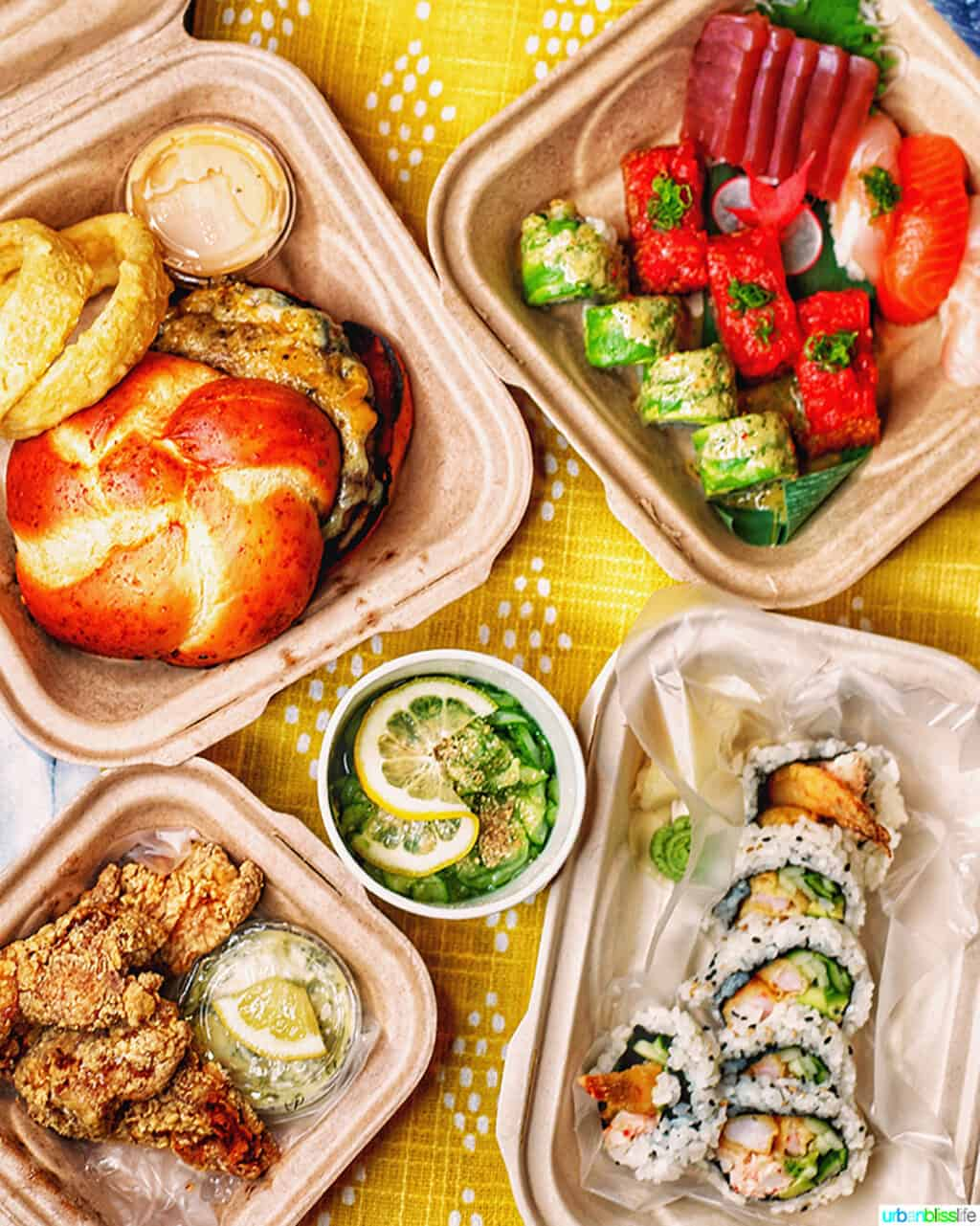 Bamboo Sushi take-out boxes