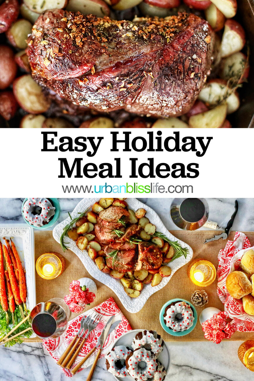 easy holiday meal at home - beef roast, carrots, rolls, glasses of wine, and plates of cake