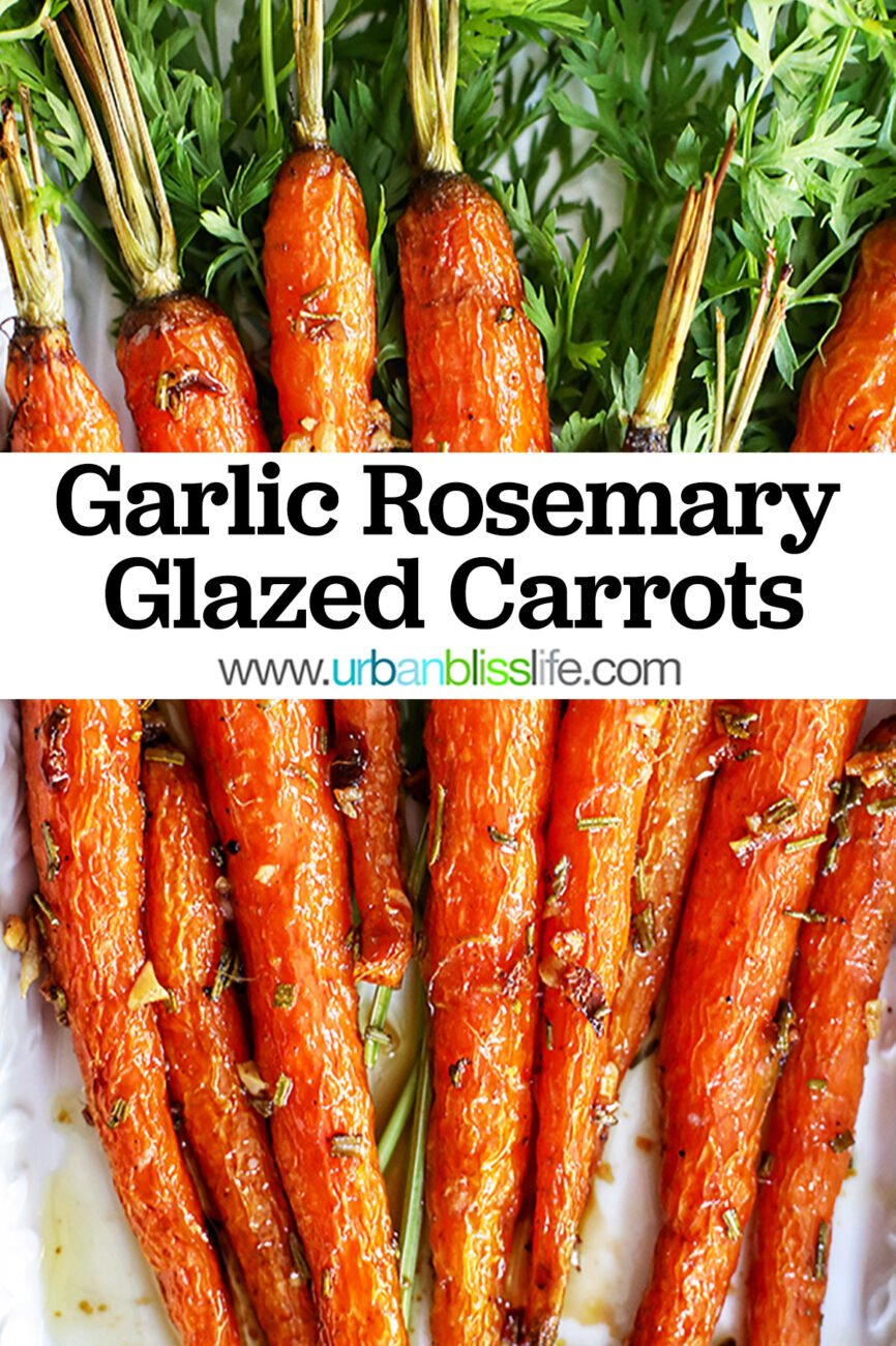 plate of garlic rosemary roasted glazed carrots with title text