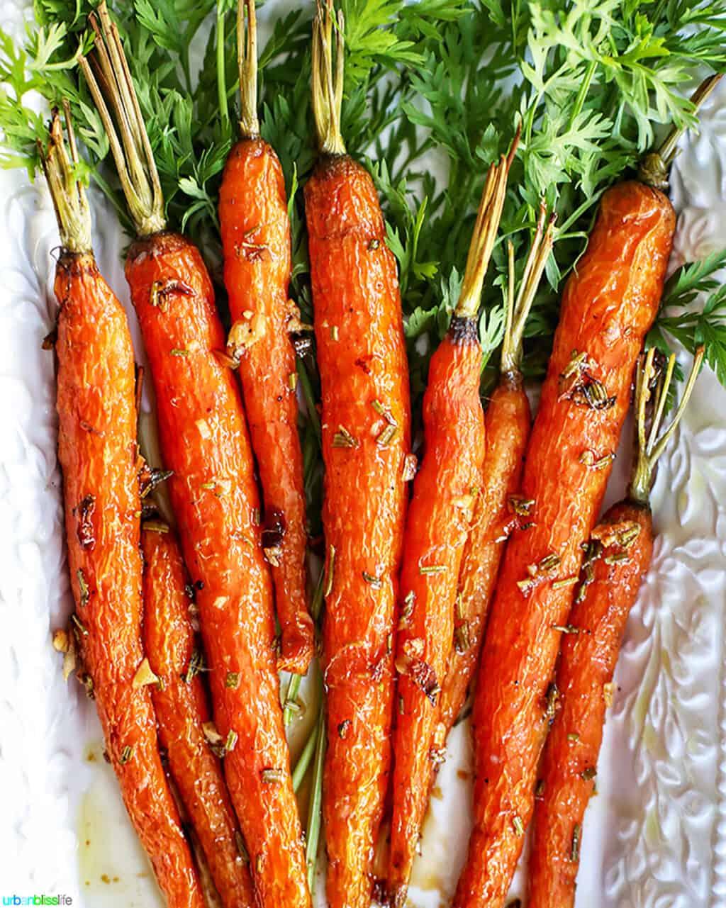 plate of garlic rosemary roasted glazed carrots