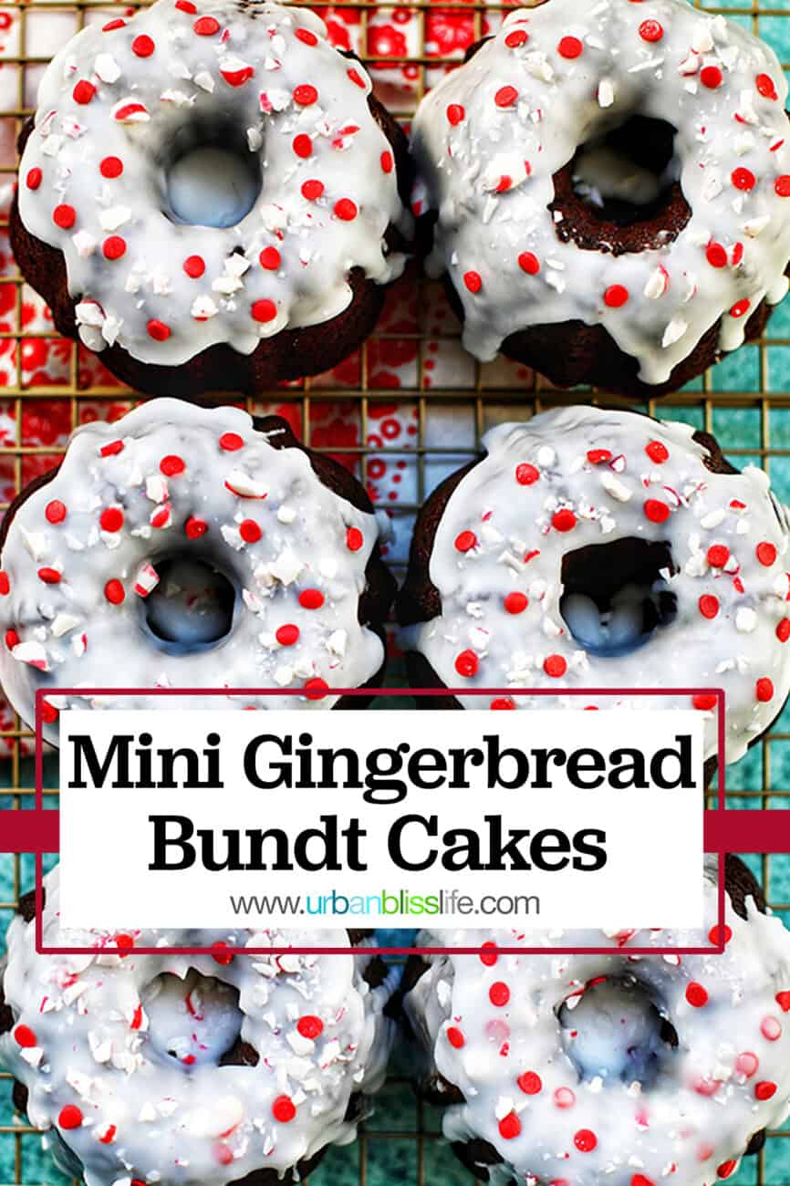 mini gingerbread bundt cakes with title text