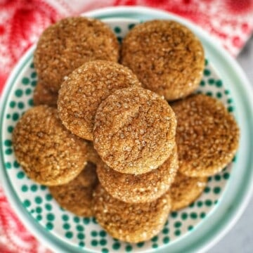 Soft Chewy Ginger Molasses Cookies on a plate