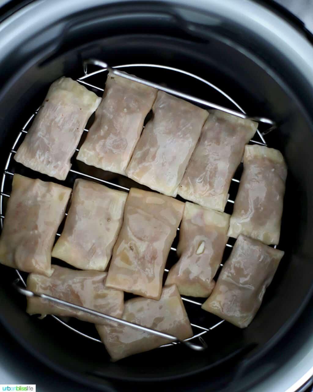 pizza rolls inside an air fryer