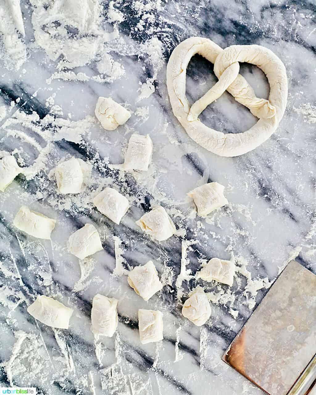 pretzel dough on marble