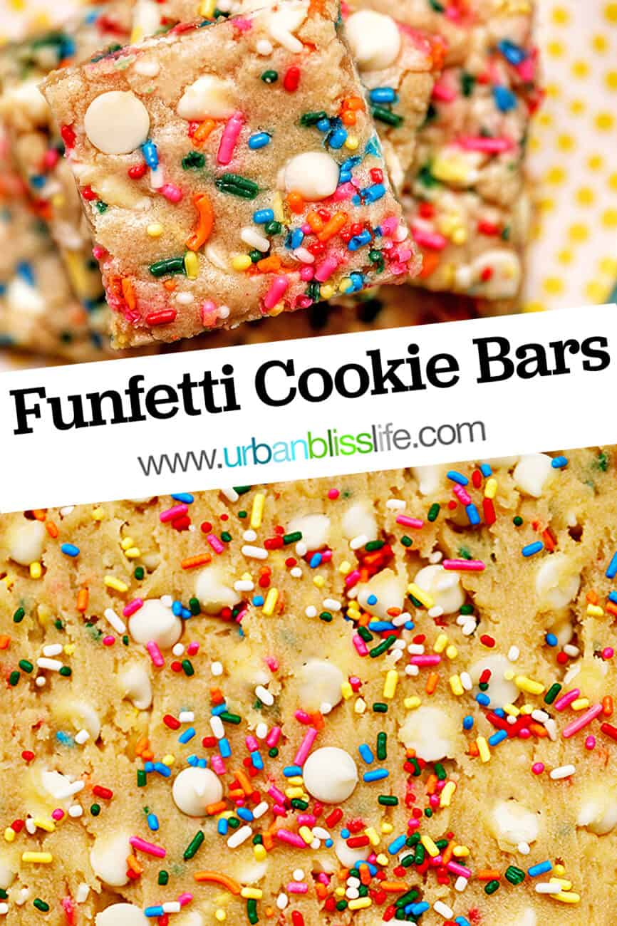 funfetti cookie bars with title text