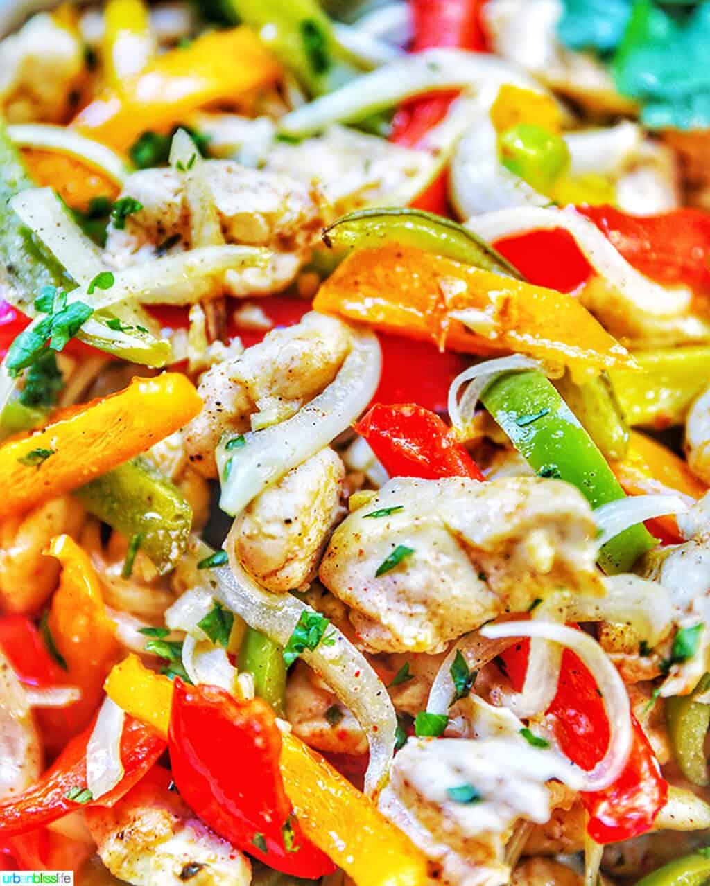 closeup of Sheet Pan Chicken Fajitas