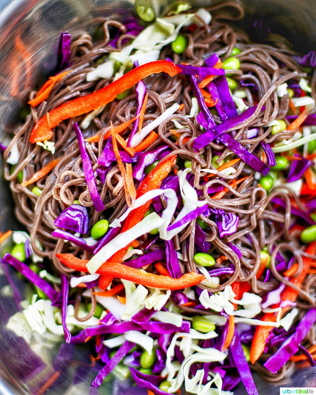 soba noodles mixing with vegetables