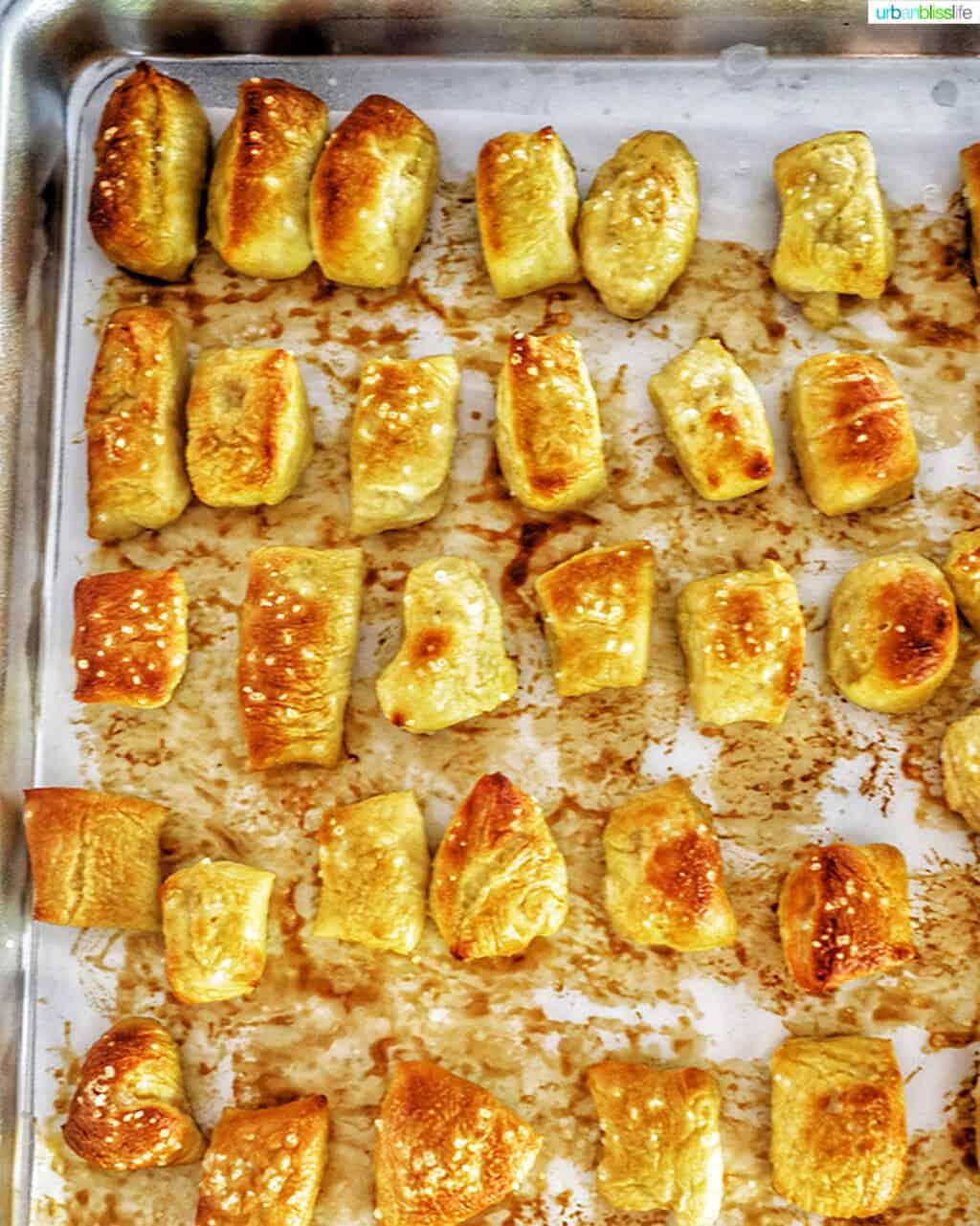 soft pretzel bites on baking sheet