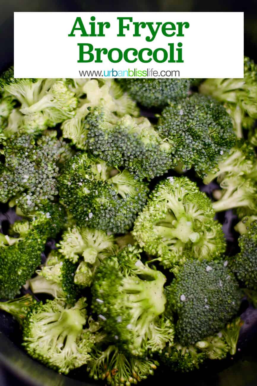 air fryer broccoli with text for Pinterest