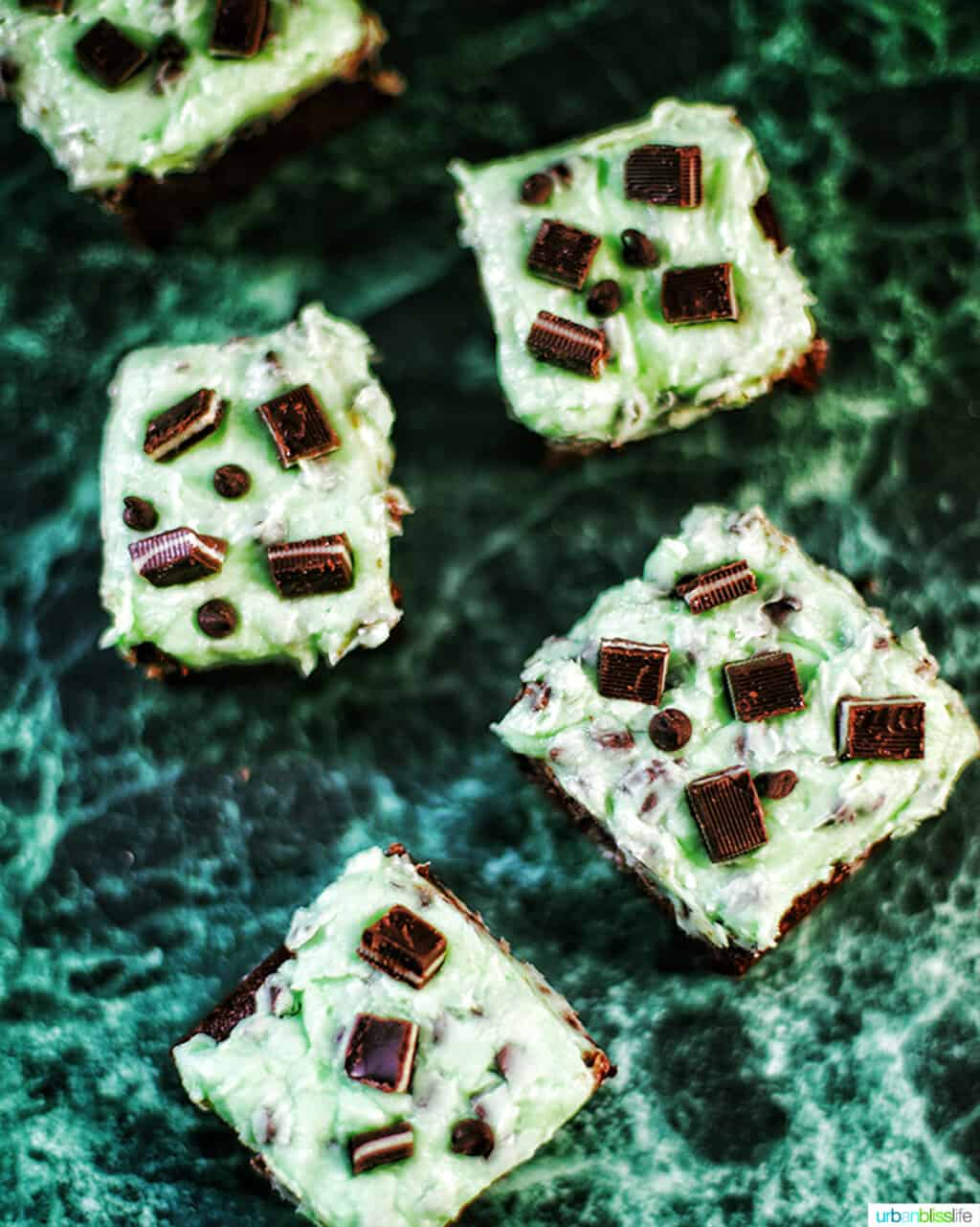 Mint Chocolate Brownies flatlay on green background
