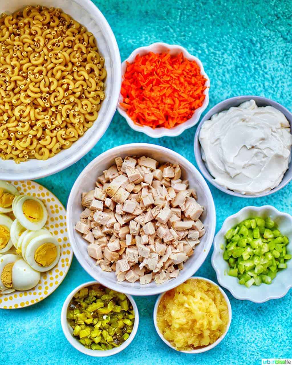 ingredients for Filipino Macaroni Salad