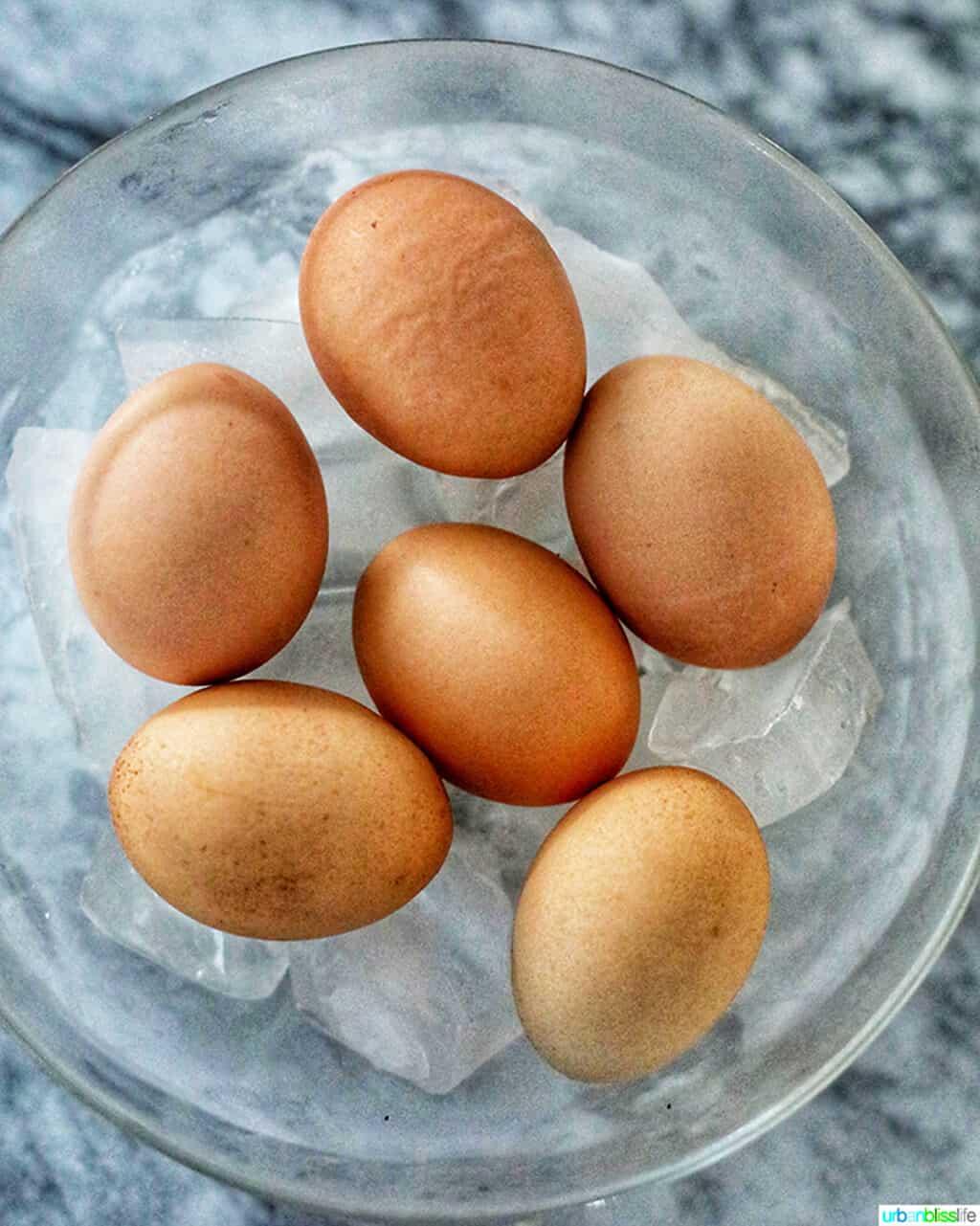 hard boiled eggs in an ice bath