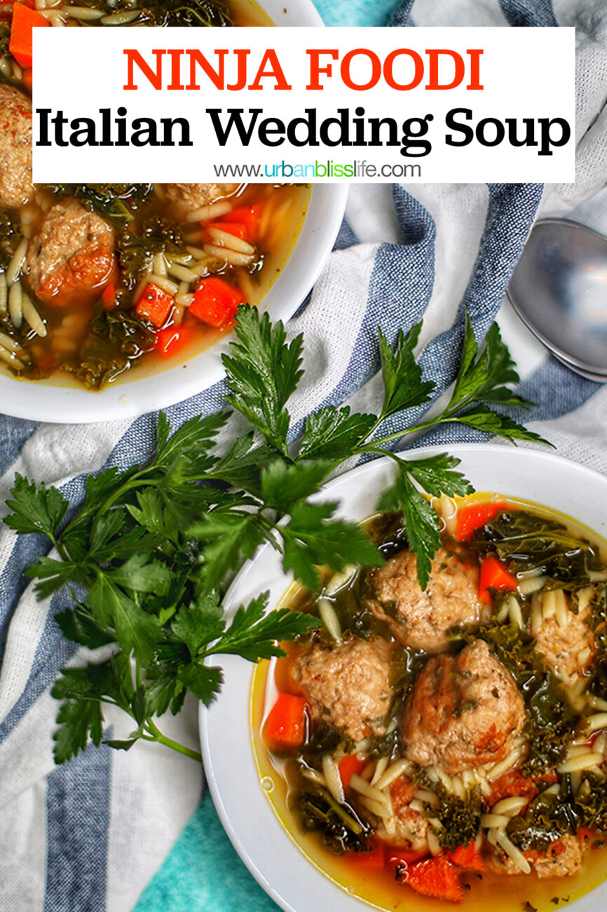 Italian wedding soup in bowls with text for pinterest