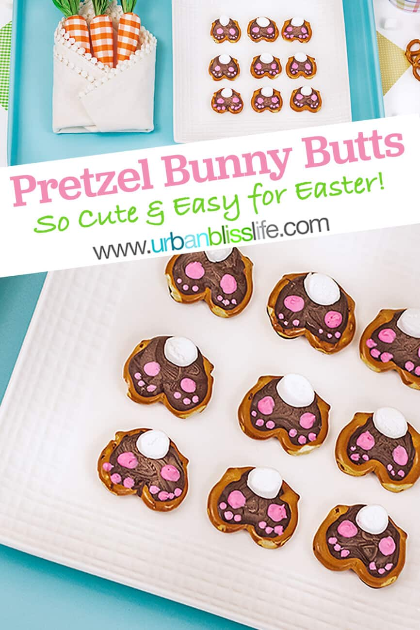 cute Easter bunny pretzels with text for pinterest