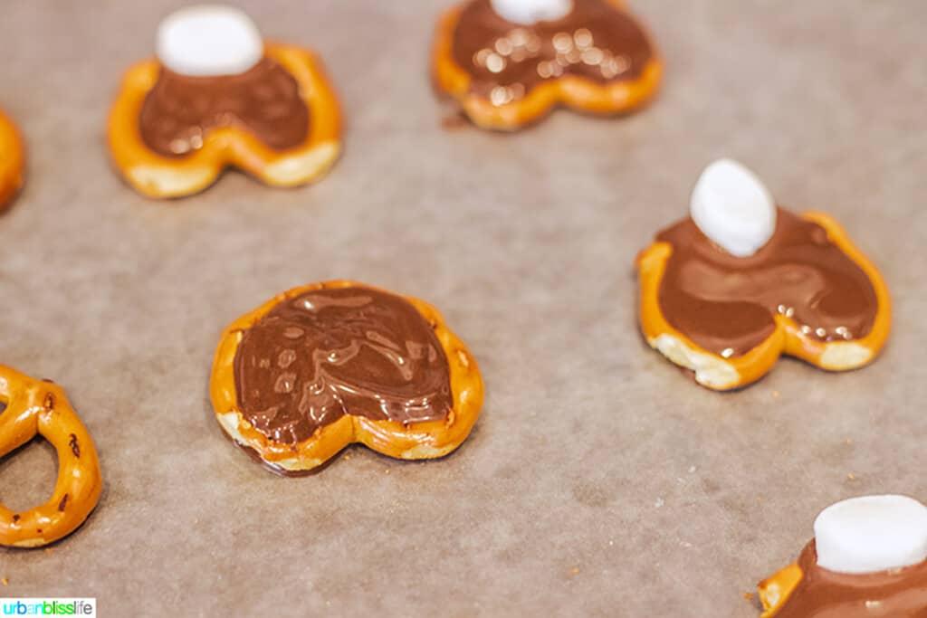 making cute Easter bunny pretzels