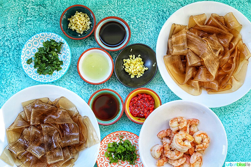 ingredients for wide glass noodles with shrimp and chili lime oil sauce