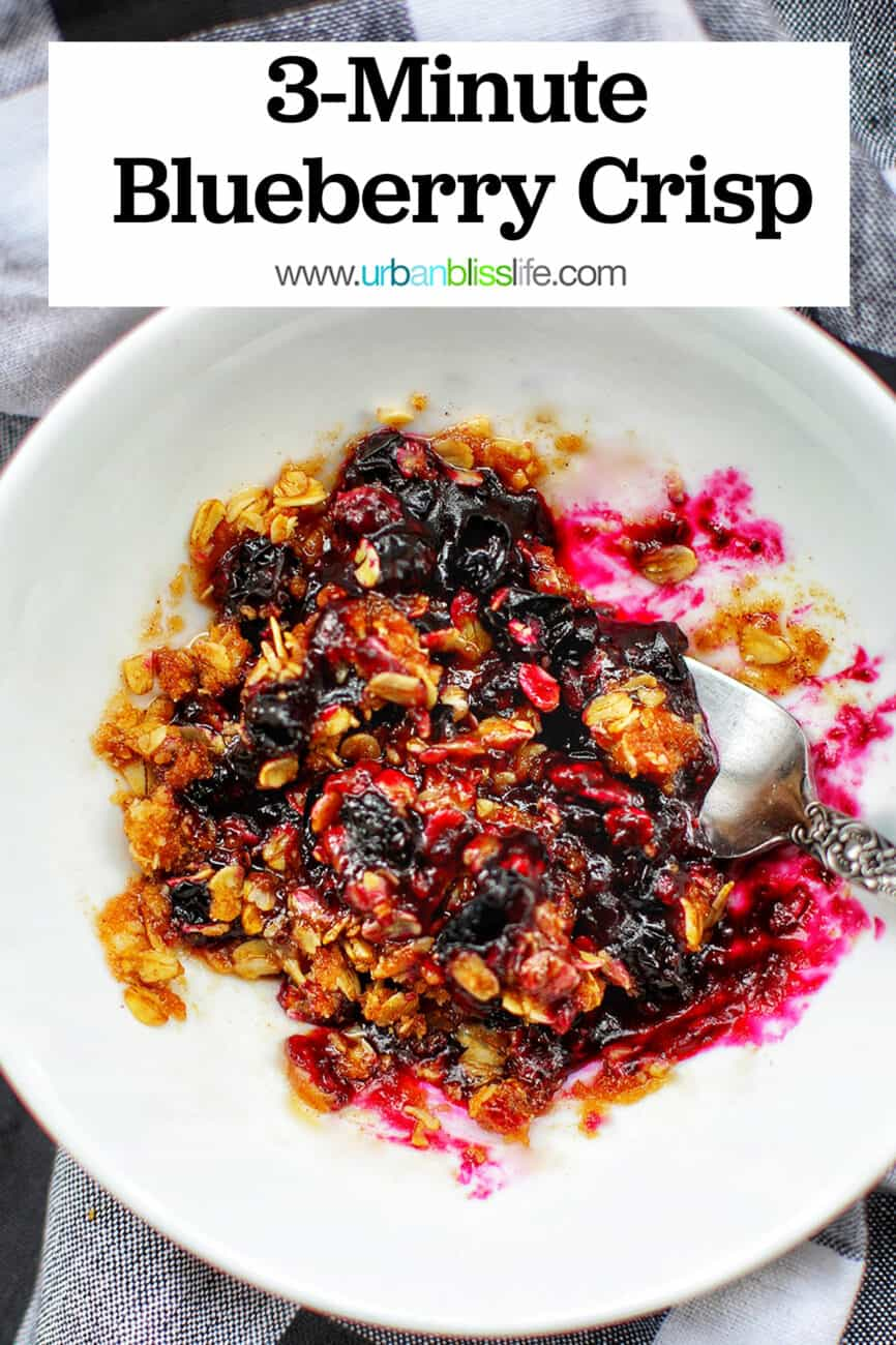 microwave blueberry crisp with text overlay