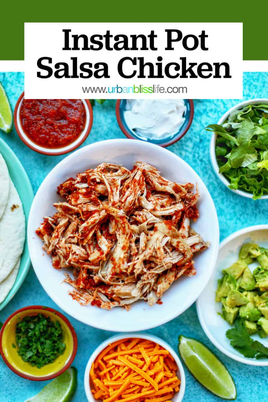 Instant Pot Salsa Chicken with text for Pinterest
