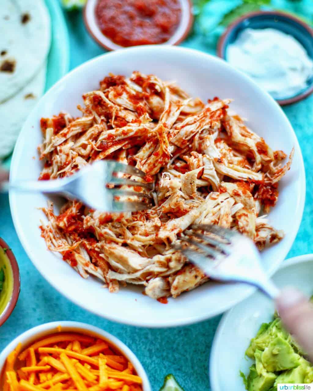 two forks shredding Instant Pot Salsa Chicken