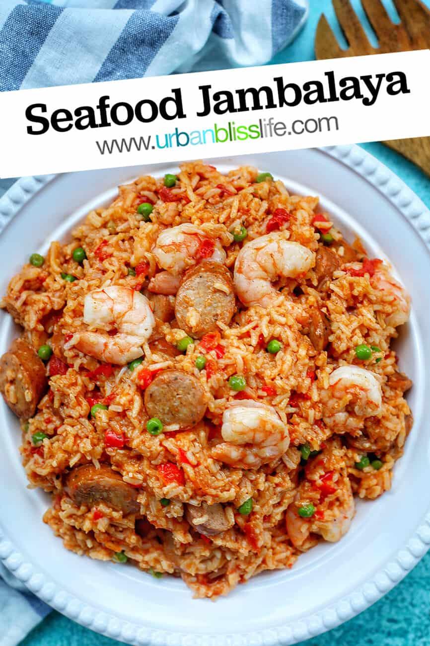 Seafood Jambalaya in bowl with text
