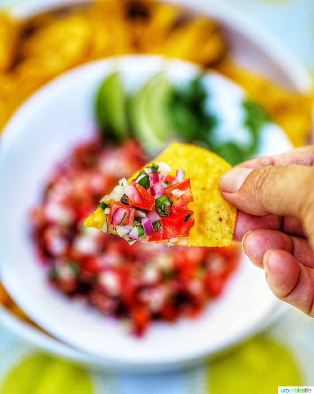 pico de gallo on a tortilla chip