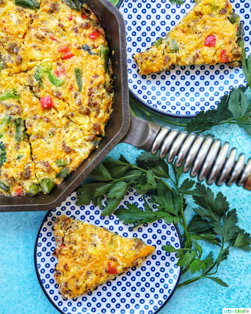 Sausage Frittata in pan with slices on plates