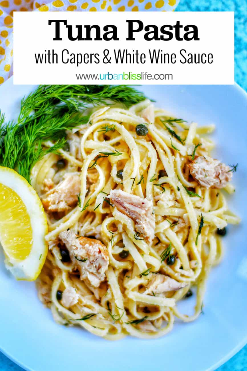 bowl of tuna pasta with text overlay