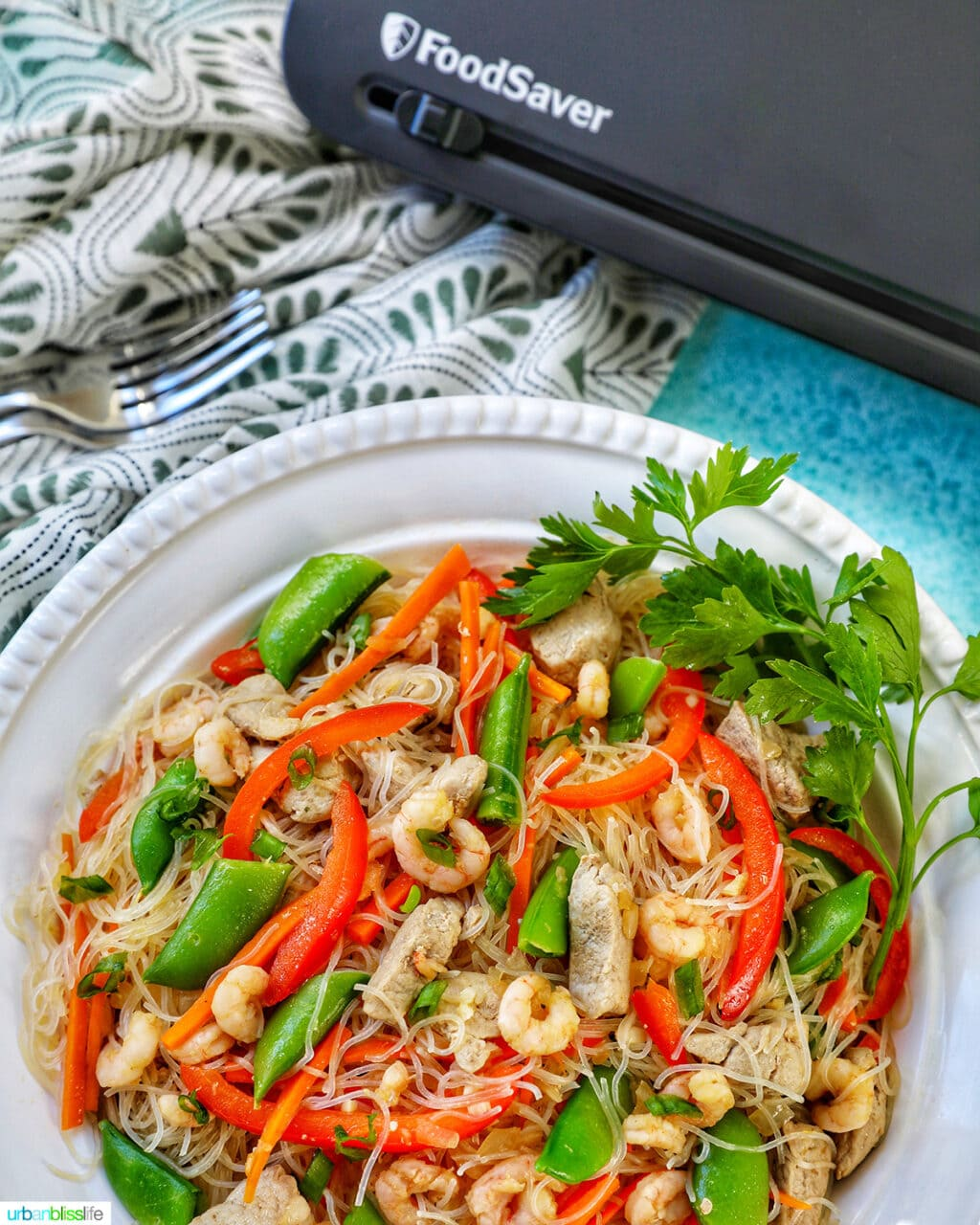 bowl of Filipino Pancit Bihon with FoodSaver