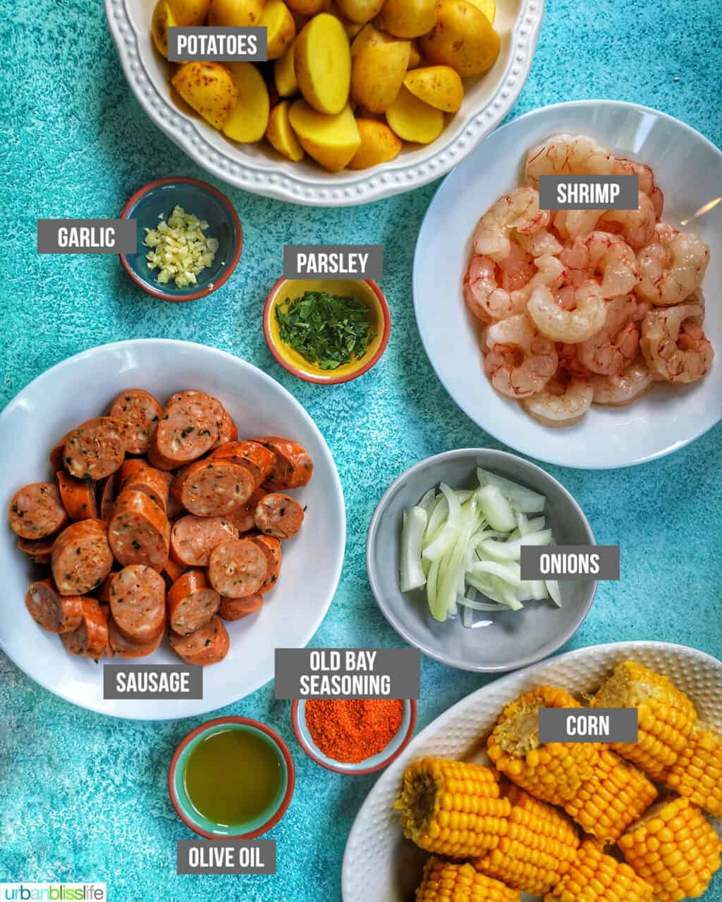 ingredients for seafood boil foil packets