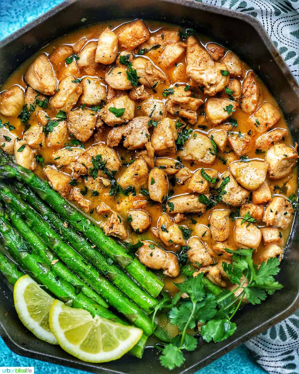 soy garlic butter chicken bites with asparagus