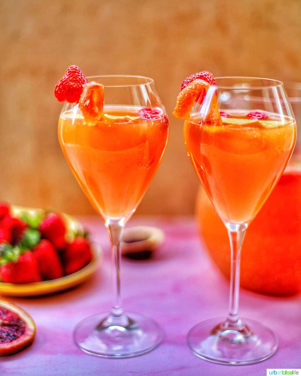 two glasses of tropical sangria