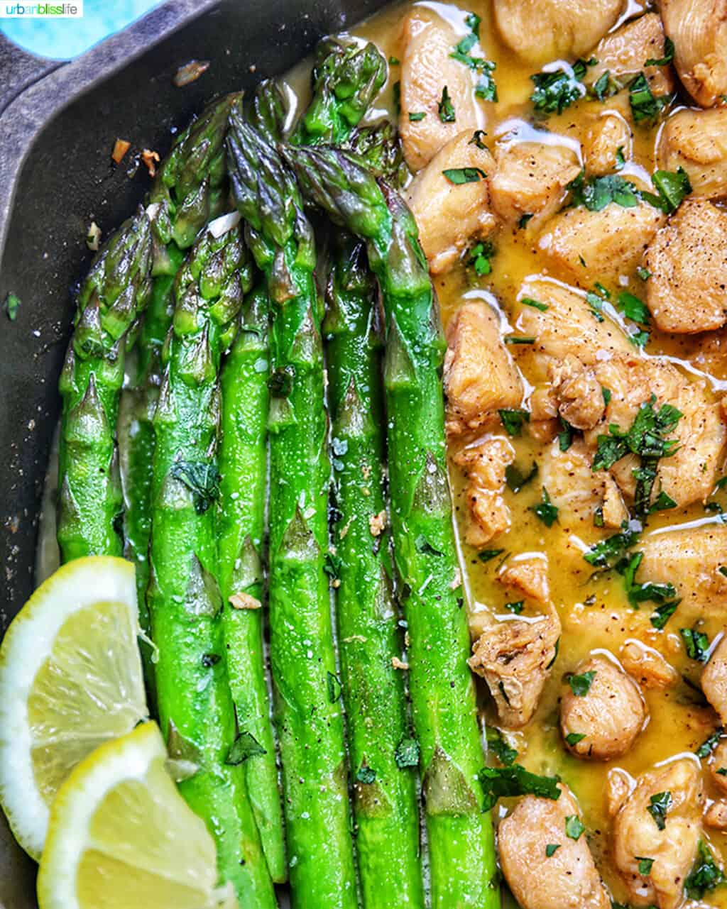 asparagus with soy garlic butter chicken bites