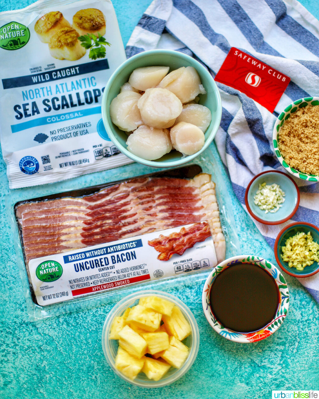 ingredients to make grilled bacon-wrapped scallop skewers