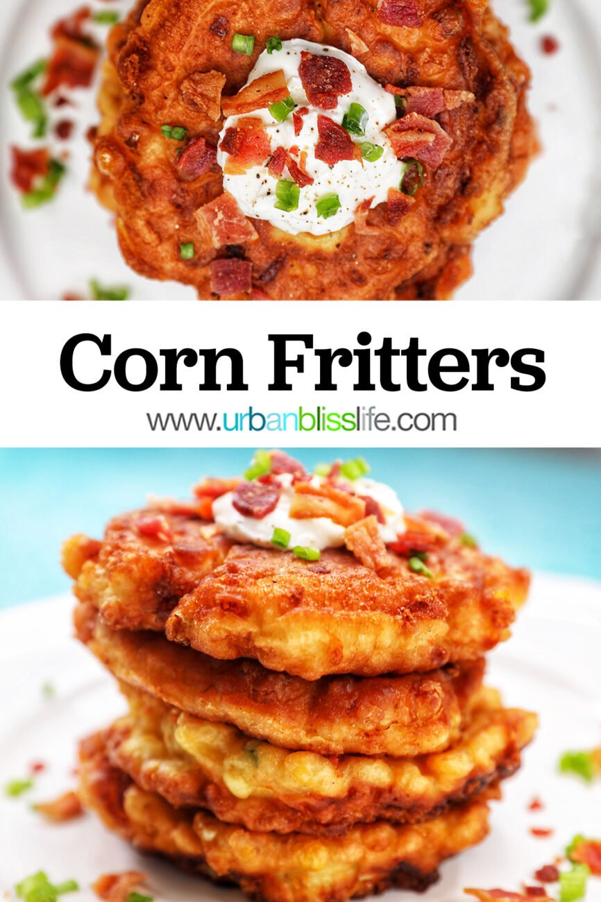 stack of corn fritters with text overlay