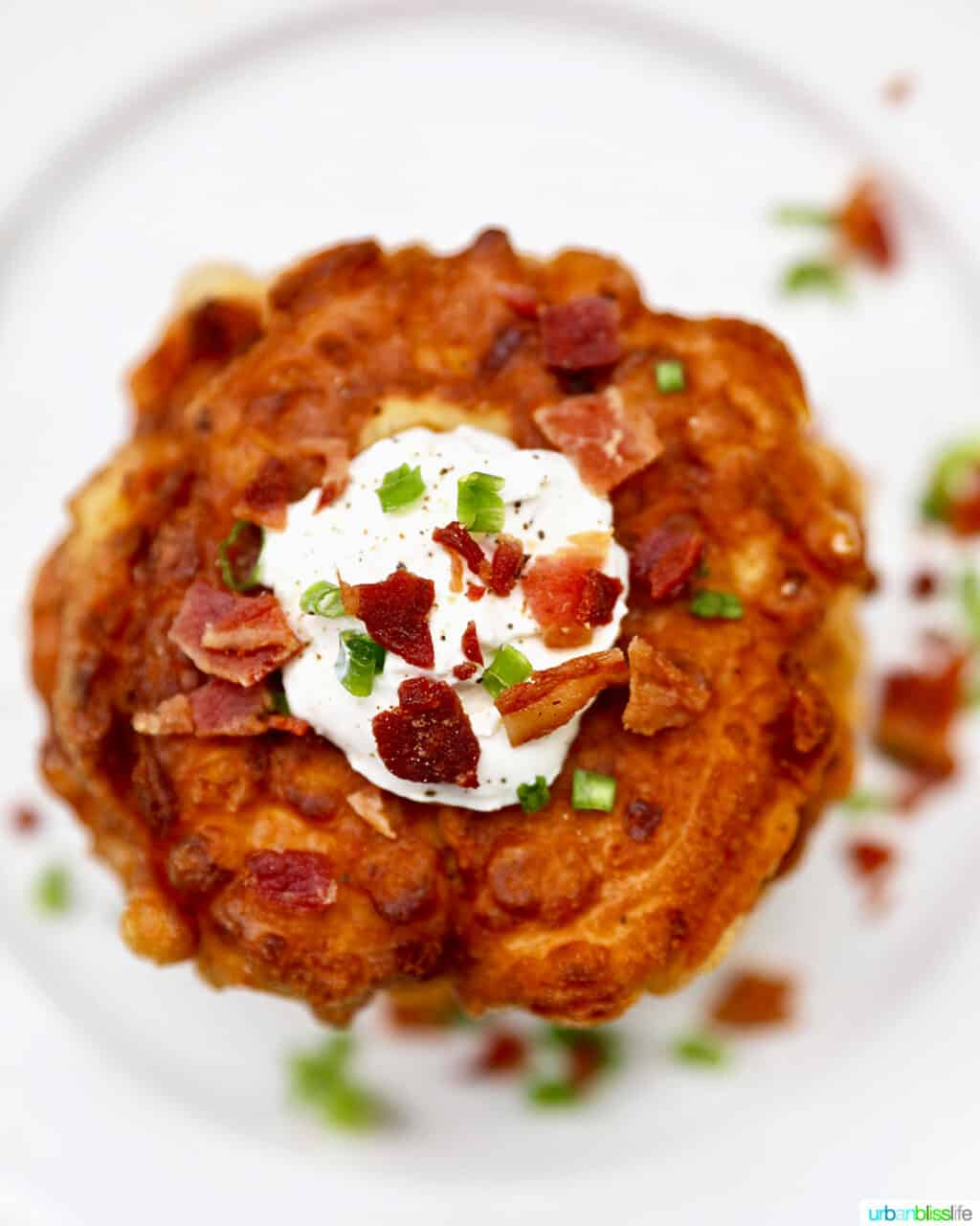 stack of corn fritters with bacon