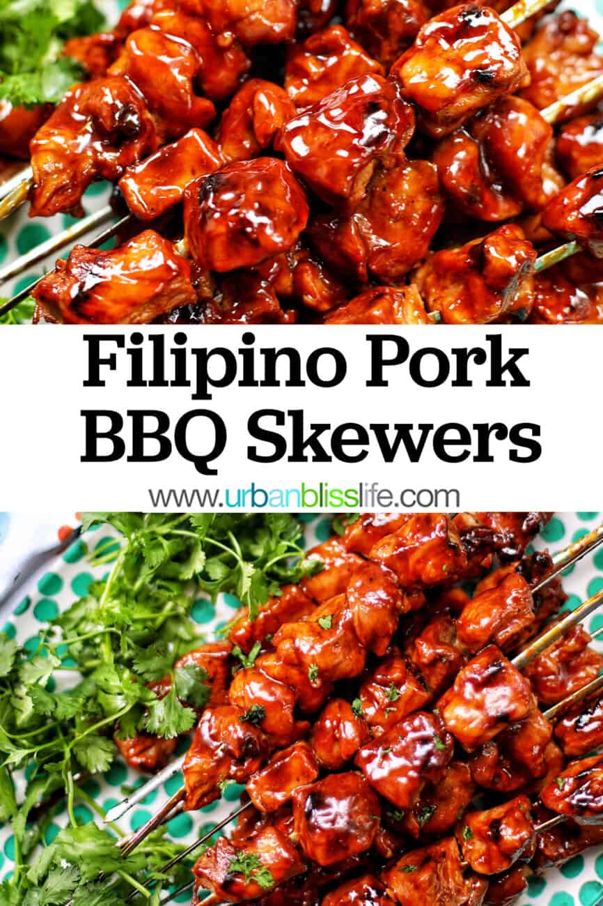 Filipino BBQ pork skewers with text overlay