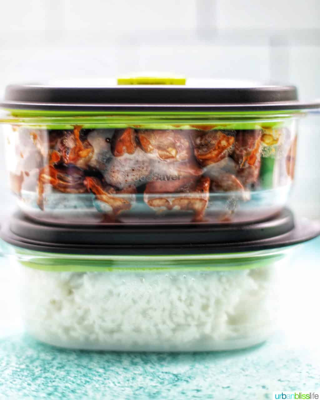 Filipino BBQ pork skewers stored in FoodSaver containers