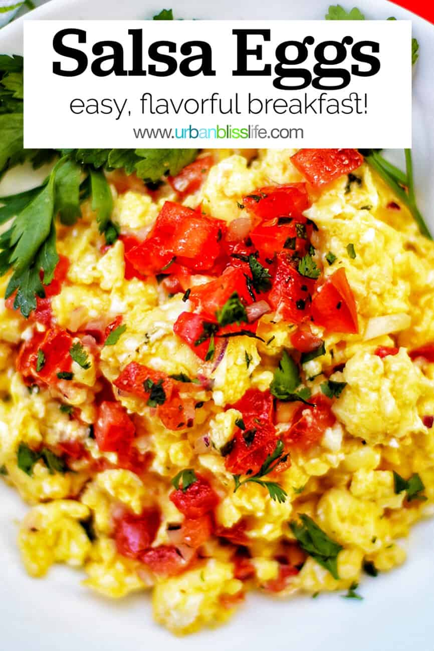 eggs with salsa and text overlay